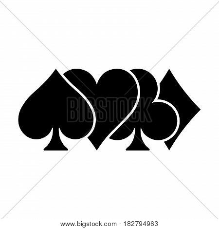 Poker card suits - hearts, clubs, spades and diamonds - on white background. Casino gambling theme vector illustration. Partly overlapped black shapes with white outline.