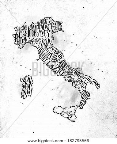 Vintage italy map with regions inscription sardinia sicily lazio tuscany liguria marche abruzzo calabria puglia veneto trentino lombardy marche drawing on dirty paper