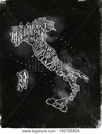 Vintage italy map with regions inscription sardinia sicily lazio tuscany liguria marche abruzzo calabria puglia veneto trentino lombardy marche drawing with chalk on chalkboard background
