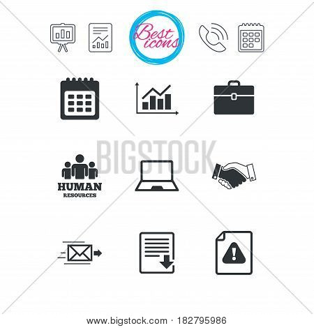 Presentation, report and calendar signs. Office, documents and business icons. Human resources, handshake and download signs. Chart, laptop and calendar symbols. Classic simple flat web icons. Vector