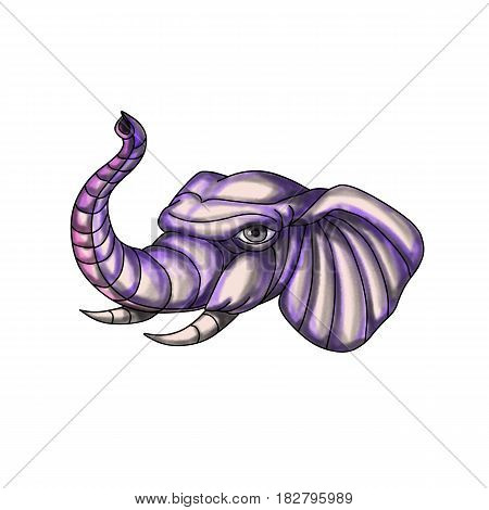 Tattoo style illustration of an elephant head with trunk raised up set on isolated white background.