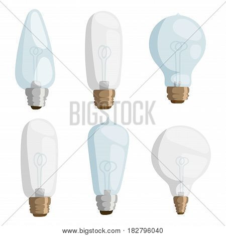 Cartoon lamps electric and bright cartoon interior lamps flat vector. Cartoon lamps light bulb electricity design flat vector illustration isolated on white background.