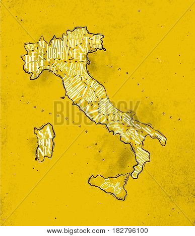 Vintage italy map with regions inscription sardinia sicily lazio tuscany liguria marche abruzzo calabria puglia veneto trentino lombardy marche drawing on yellow paper
