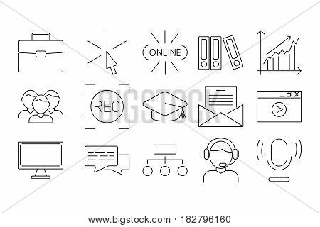 Vector business webinar and online education outline icons concepts illustration internet trainings courses school teamwork. Tutorial science graduation development symbols.
