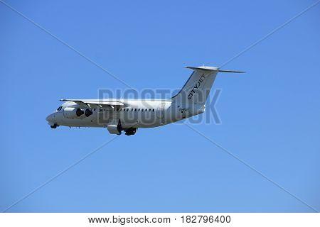 Amsterdam the Netherlands - April 2nd 2017: EI-RJE Cityjet British Aerospace Avro RJ85 takeoff from Polderbaan runway Amsterdam Airport Schiphol