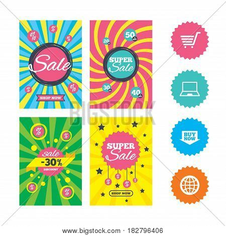 Web banners and sale posters. Online shopping icons. Notebook pc, shopping cart, buy now arrow and internet signs. WWW globe symbol. Special offer and discount tags. Vector