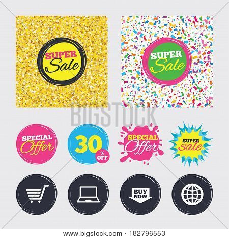 Gold glitter and confetti backgrounds. Covers, posters and flyers design. Online shopping icons. Notebook pc, shopping cart, buy now arrow and internet signs. WWW globe symbol. Sale banners. Vector