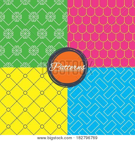 Vintage ornament and rood tile seamless textures. Linear geometric patterns. Modern textures. Abstract patterns with colored background. Vector