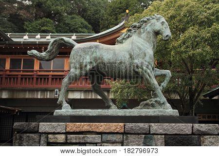 Statue Of Sacred Horse In Suwa Shrine, Nagasaki, Japan