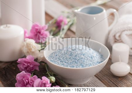 Beautiful Spa Composition With Spring Flowers And Sea Salt.