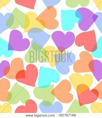 Seamless background with hearts overlapping pattern in pastel colors
