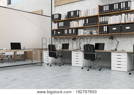 Corner view of an open space office with rows of computer desks along a wall and long shelves with folders. 3d rendering mock up