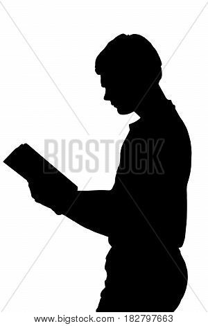 Side Profile Portrait Silhouette Of Standing Teenage Boy Reading Book