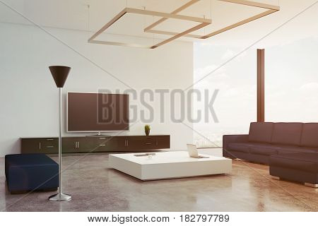 Living room interior with a blue sofa and an armchair standing near a white coffee table. There is a tv set near a wooden wall. 3d rendering mock up toned image.
