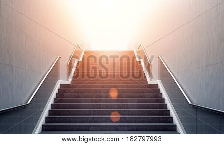 Front view of a gray staircase with metal railing leading to a modern city downtown. Concept of success. 3d rendering toned image.