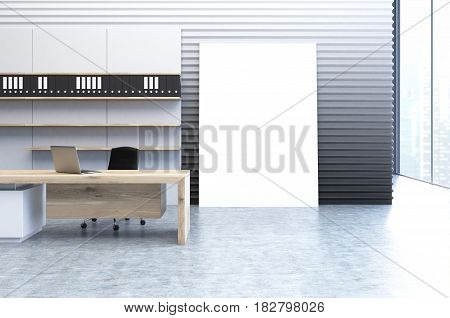 Interior of a clerk office with a gray wall a veritcal poster standing beside it a wooden desk and a bookcase with folders. 3d rendering mock up