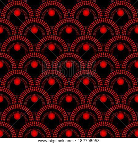 Red lace fine seamless with overlapping circle patterns on black area