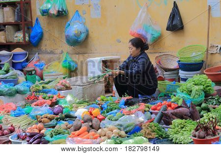 HANOI VIETNAM - NOVEMBER 24, 2016: Unidentified woman sells vegetable in Old Quarter.