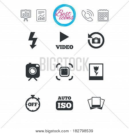 Presentation, report and calendar signs. Photo, video icons. Camera, photos and frame signs. Flash, timer and macro symbols. Classic simple flat web icons. Vector