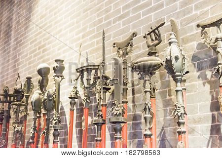 Gunagdong, China - Nov 28 2015: Old Weapons At Foshan Ancestral Temple(zumiao Temple). A Famous Hist