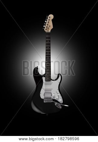 CHISINAU, MOLDOVA - April 22, 2017: Black electric guitar on black background. With clipping path