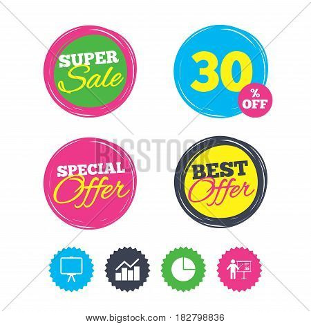 Super sale and best offer stickers. Diagram graph Pie chart icon. Presentation billboard symbol. Man standing with pointer sign. Shopping labels. Vector