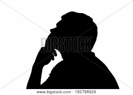 Side Profile Portrait Silhouette Of Teenage Boy Thinking Finger On Lips