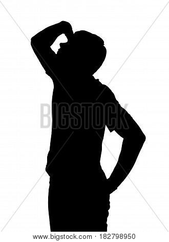 Side Profile Portrait Silhouette Of Teenage Boy Looking Upward With Hand Shielding Eyes