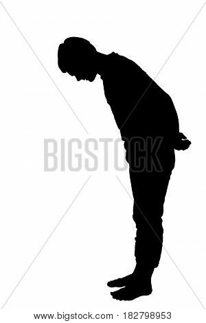 Full Length Side Profile Portrait Silhouette Of Teenage Boy Looking Down