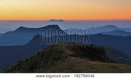 Early morning in Ghale Gaun. Hills and valleys at sunrise. Landscape in the Annapurna Conservation Area Nepal.