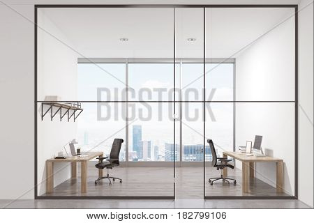 Luxury office interior with two tables standing near the walls and a panoramic window. There is a shelf above a desk. 3d rendering
