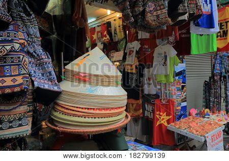 HANOI VIETNAM - NOVEMBER 24, 2016: Souvenir shop in Hanoi Old Quarter.