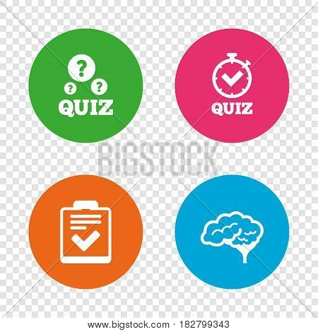 Quiz icons. Human brain think. Checklist and stopwatch timer symbol. Survey poll or questionnaire feedback form sign. Round buttons on transparent background. Vector