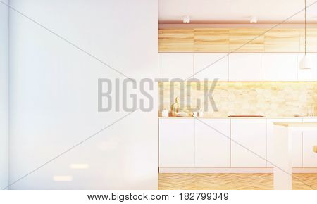 Kitchen interior with light wooden and white walls white countertops a table and a large blank wall fragment. 3d rendering mock up toned image