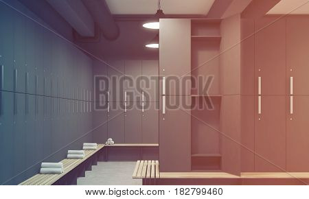 Front view of a gray locker room with benches along the rows of lockers. One of the lockers door is open. 3d rendering toned image
