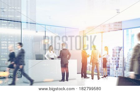 Businesspeople are passing by a reception counter in an office with gray walls. 3d rendering toned image double exposure