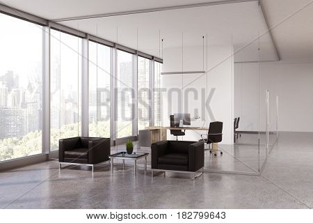 Glass office interior with a waiting area with two leather armchairs and a small coffee table between them. CEO room behind a glass wall. 3d rendering