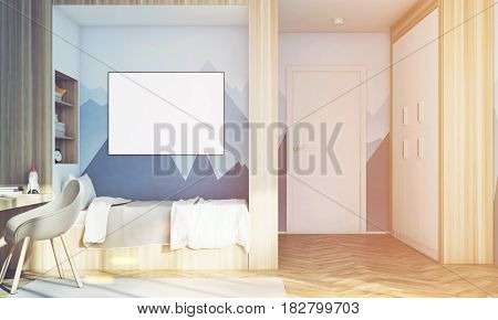 Close up of a kids room interior with a poster hanging above a bed bookshelves and a gray chair. 3d rendering mock up toned image