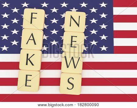 USA Politics News Concept: Letter Tiles Fake News On US Flag 3d illustration