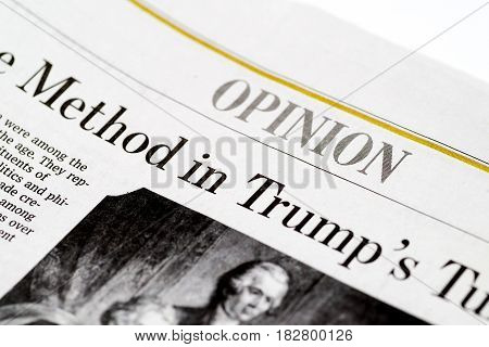 Chicago USA-Feb 12 2017:The Wall Street Journal Newspaper,Opinion Section(for editorial use only)