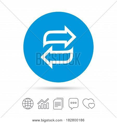 Rotation icon. Repeat symbol. Refresh sign. Copy files, chat speech bubble and chart web icons. Vector