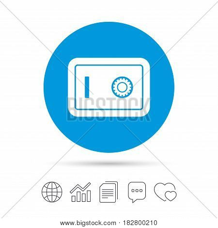 Safe sign icon. Deposit lock symbol. Protection for your documents in hotel. Copy files, chat speech bubble and chart web icons. Vector