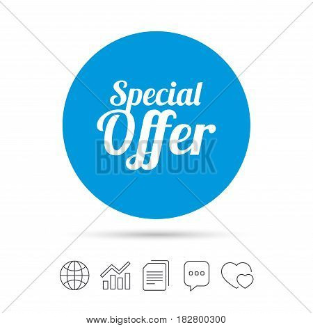 Special offer sign icon. Sale symbol. Copy files, chat speech bubble and chart web icons. Vector