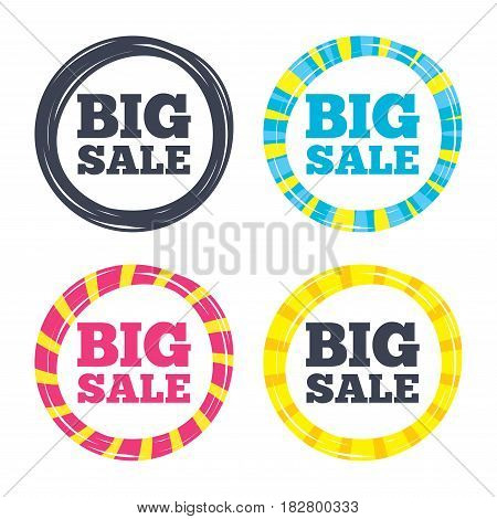 Big sale sign icon. Special offer symbol. Colored buttons with icons. Poker chip concept. Vector