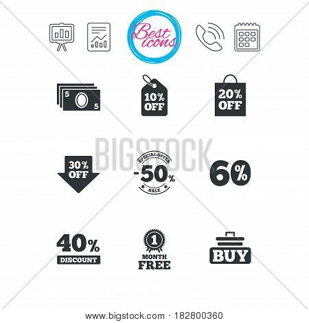 Presentation, report and calendar signs. Sale discounts icon. Shopping cart, buying and cash money signs. 40, 50 and 60 percent off. Special offer symbols. Classic simple flat web icons. Vector