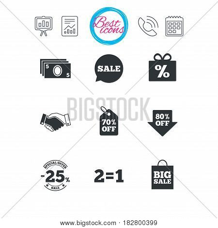 Presentation, report and calendar signs. Sale discounts icon. Shopping, handshake and cash money signs. 25, 70 and 80 percent off. Special offer symbols. Classic simple flat web icons. Vector