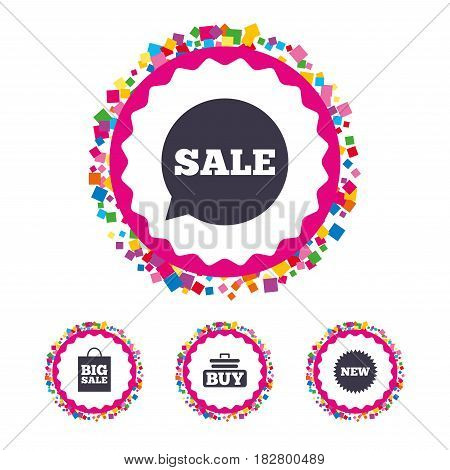 Web buttons with confetti pieces. Sale speech bubble icon. Buy cart symbol. New star circle sign. Big sale shopping bag. Bright stylish design. Vector