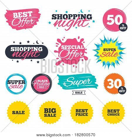 Sale shopping banners. Special offer splash. Sale icons. Best choice and price symbols. Big sale shopping sign. Web badges and stickers. Best offer. Vector