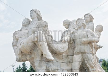 Heilongjiang, China - Jul 22 2015: Eight Heroines Statues At Jiangbin Park. A Famous Historic Site I