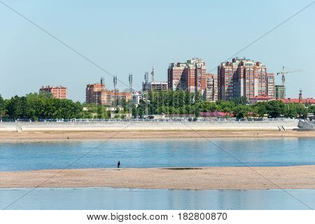 Heilongjiang, China - Jul 15 2015: Blagoveshchensk City Of Russia View From Heihe City Of China. The